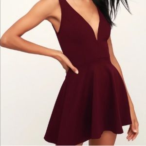 🆕Lulu's A-line burgundy mini dress